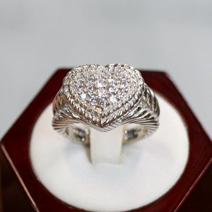 Judith Ripka Sterling Diamonique Pave Heart Ring